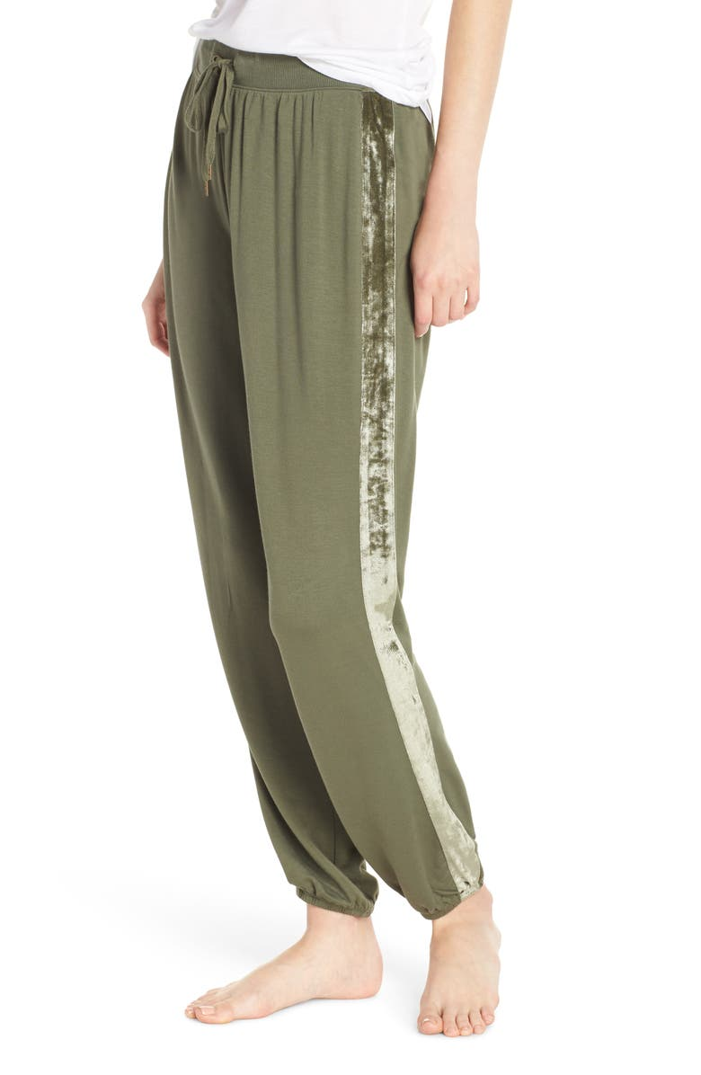 SPLENDID Velvet Stripe Pajama Pants, Main, color, FOREST GREEN