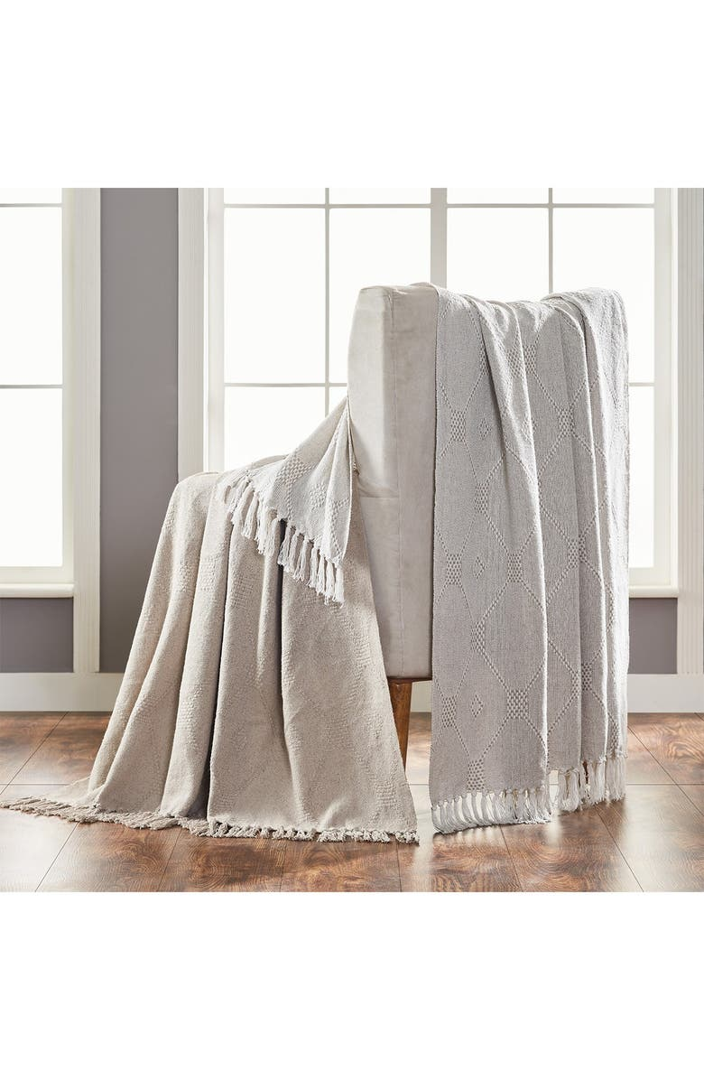 """MODERN THREADS 2-Pack 50"""" x 60"""" Throw Blanket - Feather Grey, Main, color, GREY"""