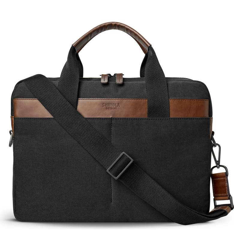 SHINOLA Mack Waxed Canvas Briefcase, Main, color, Black