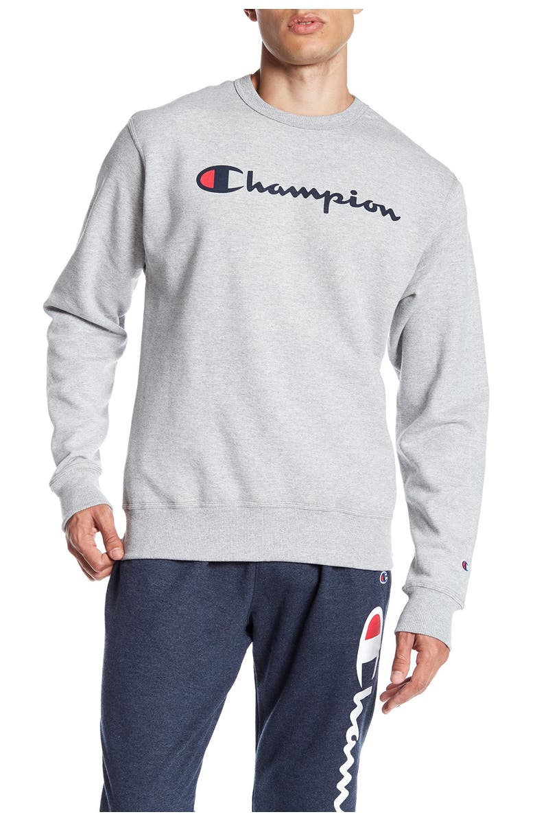 CHAMPION Graphic Powerblend Crew Neck Pullover, Main, color, OXFORD GREY