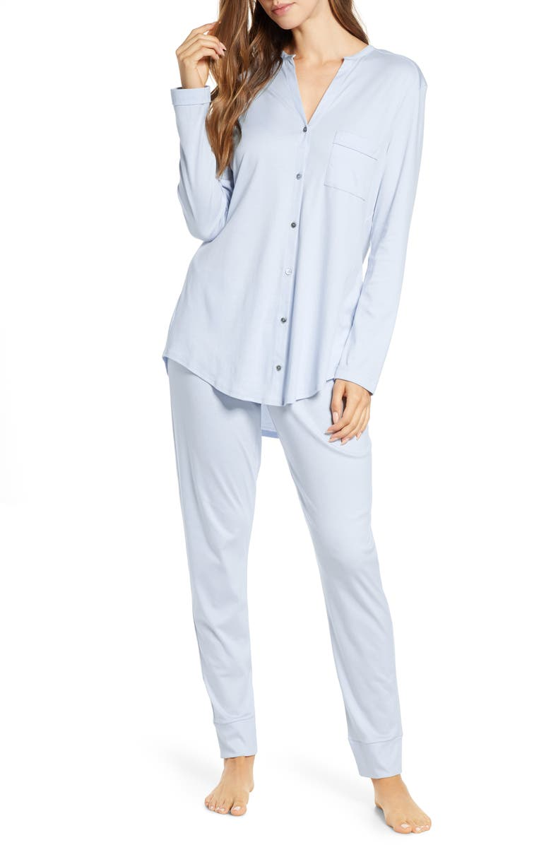 HANRO Pure Essence Pajamas, Main, color, BLUE GLOW