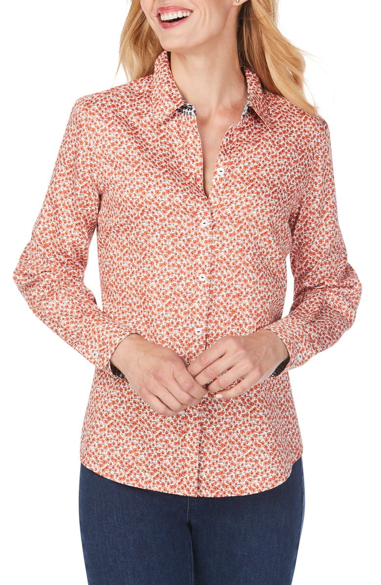 FOXCROFT Ditsy Autumn Floral Wrinkle-Free Sateen Shirt, Main, color, TERRACOTTA