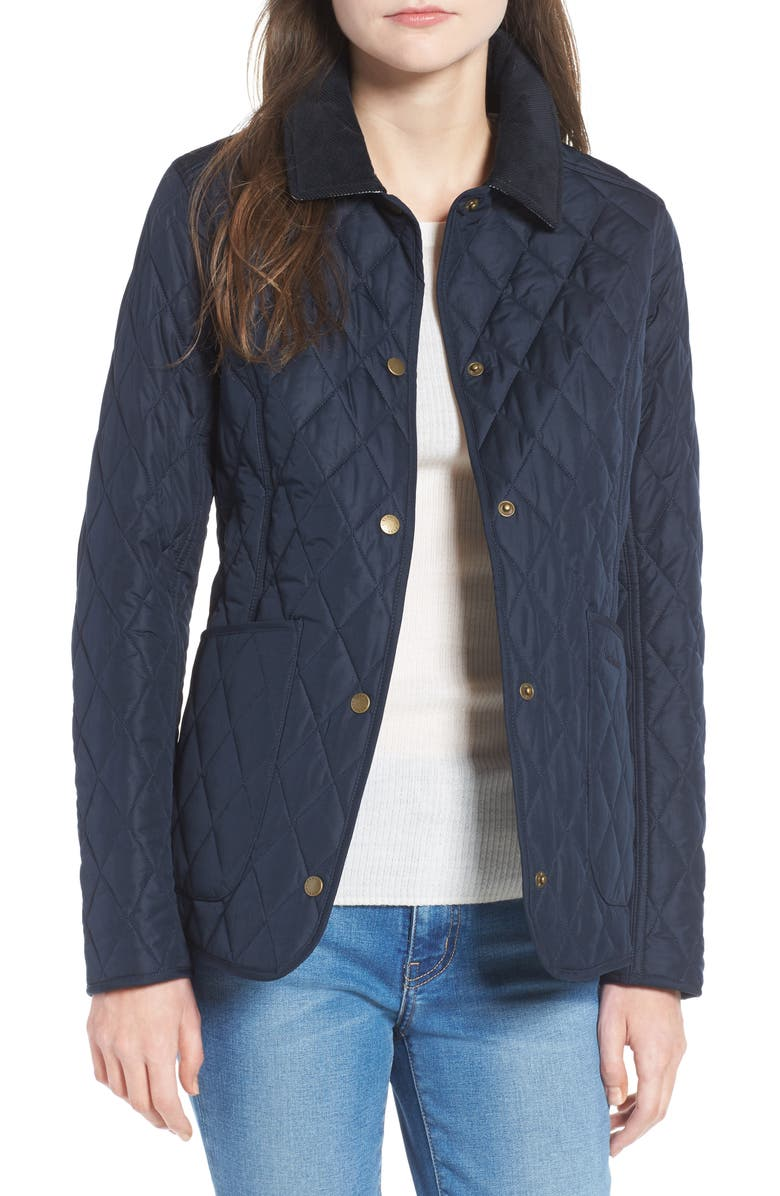 BARBOUR Spring Annandale Quilted Jacket, Main, color, NAVY/ SUMMER TARTAN