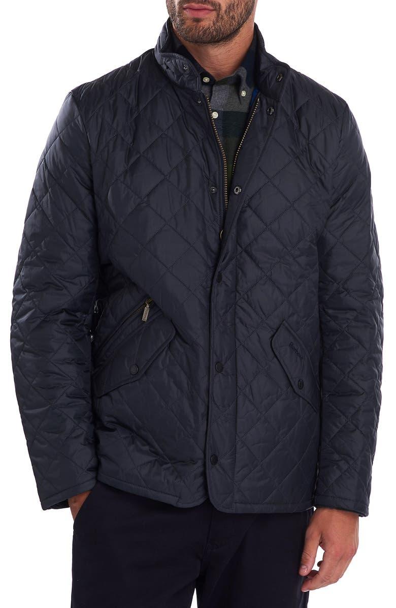 BARBOUR Flyweight Chelsea Quilted Jacket, Main, color, NAVY