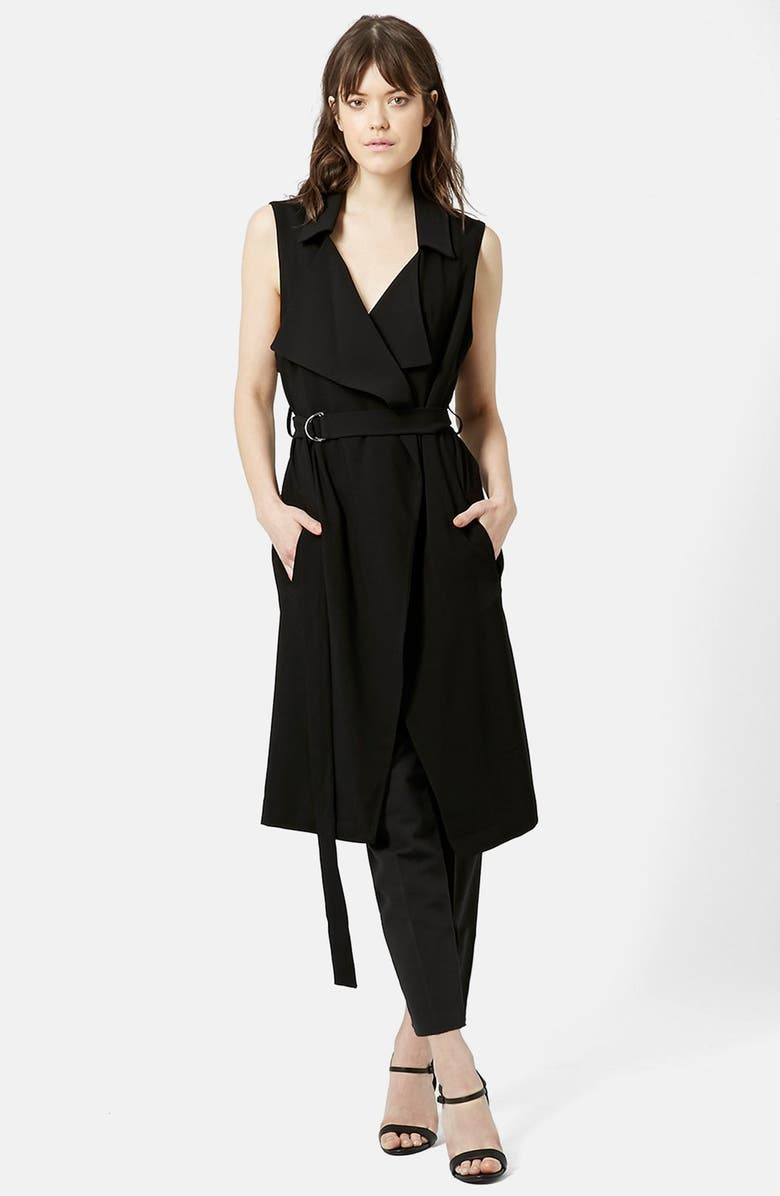 TOPSHOP Sleeveless D-Ring Duster, Main, color, BLACK