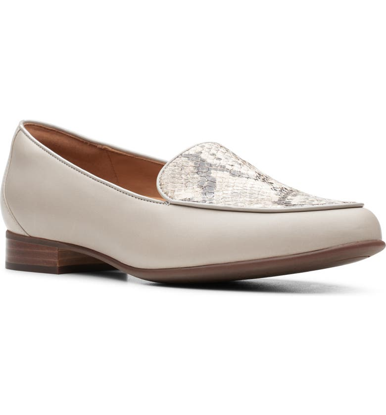 CLARKS<SUP>®</SUP> Un Blush Step Loafer, Main, color, STONE/ SNAKE PRINT LEATHER