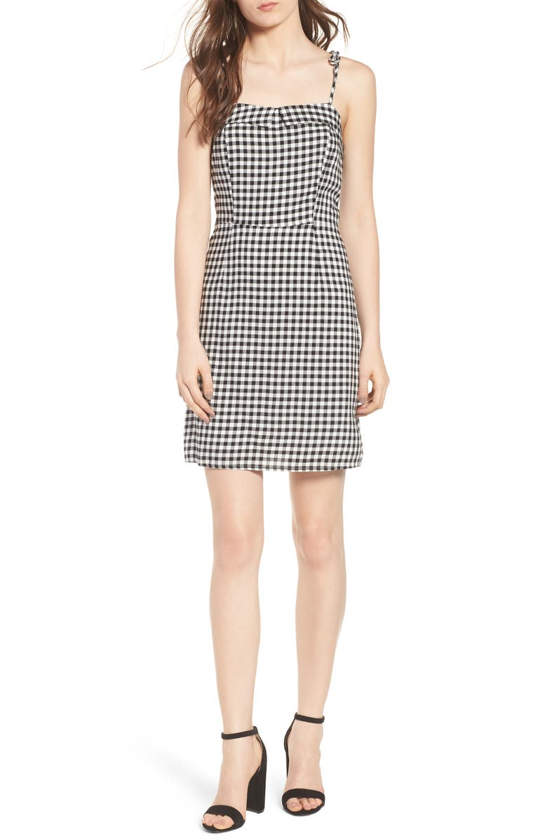 CUPCAKES AND CASHMERE Eddie Gingham Dress, Main, color, Black