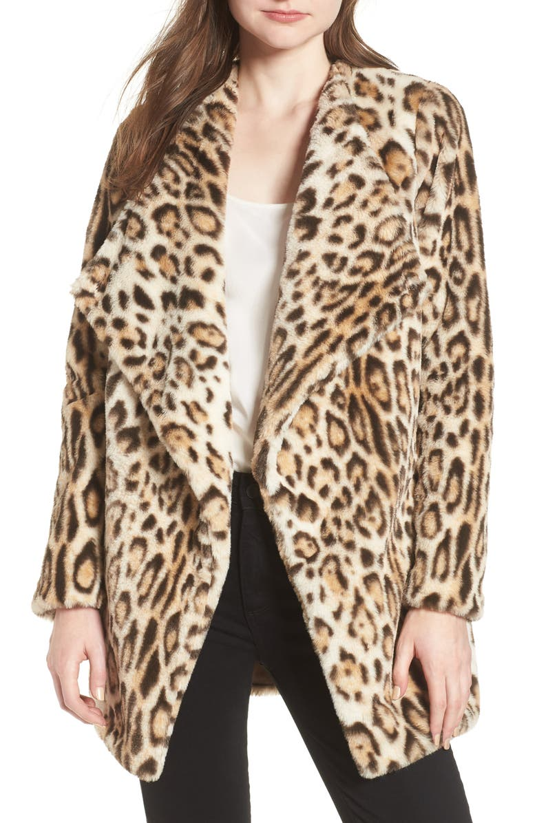 BB DAKOTA Leopard Faux Fur Jacket, Main, color, 210