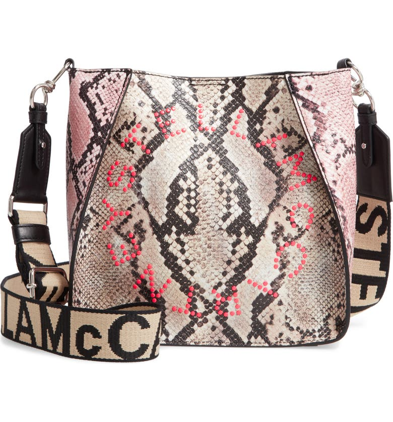 STELLA MCCARTNEY Mini Snake Print Faux Leather Crossbody Bag, Main, color, 650