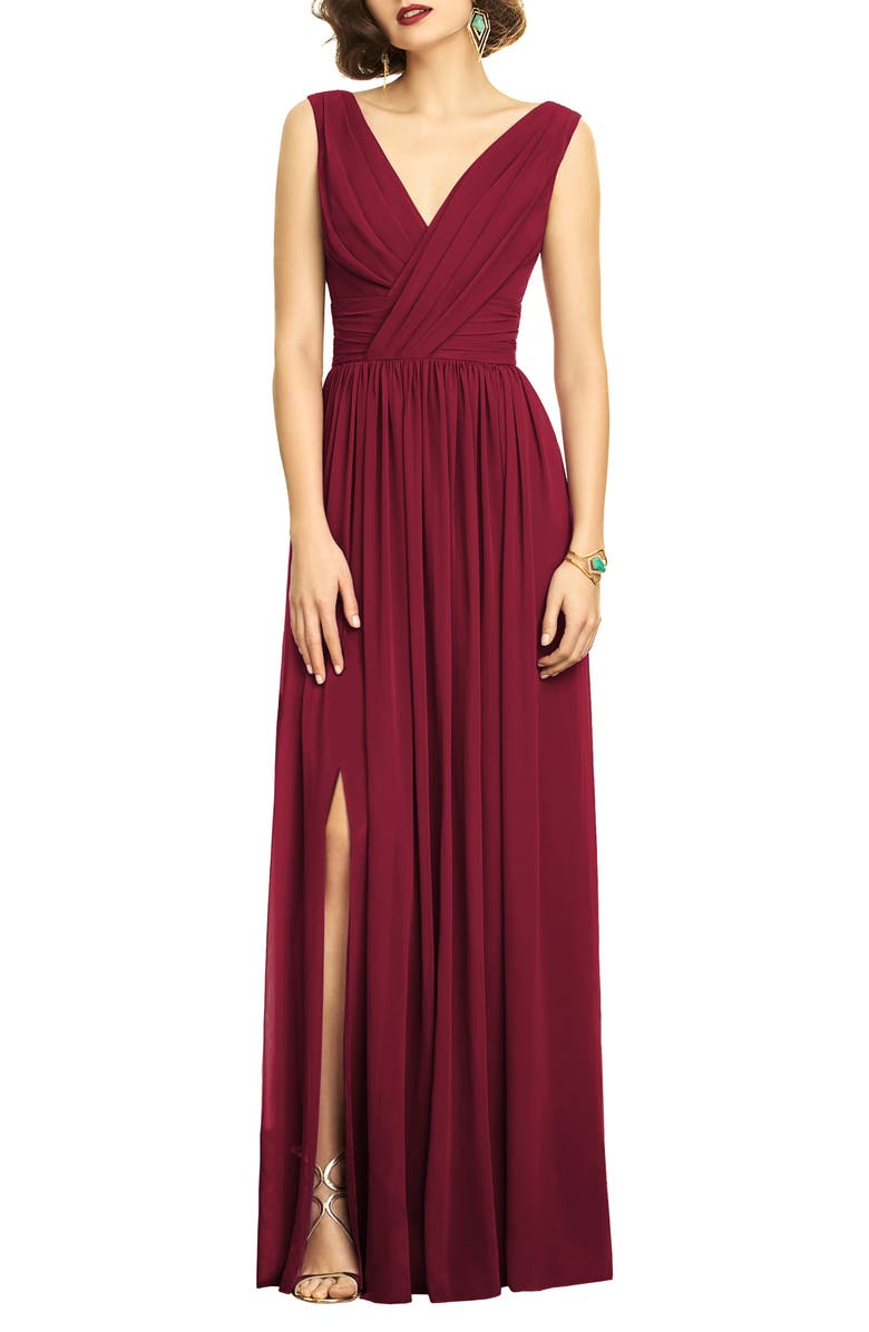 DESSY COLLECTION Surplice Ruched Chiffon Gown, Main, color, BURGUNDY