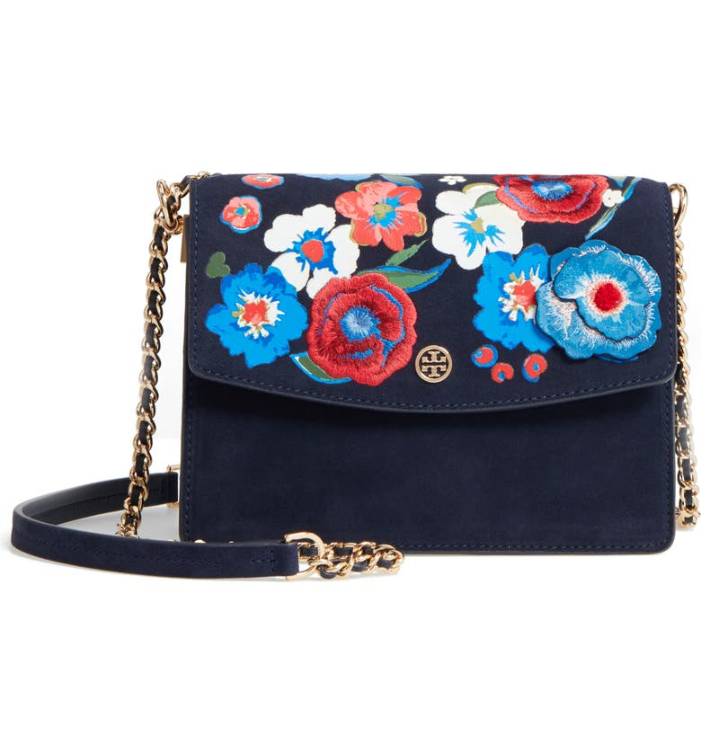 TORY BURCH Parker Flower Embroidered Leather Shoulder/Crossbody Bag, Main, color, TORY NAVY