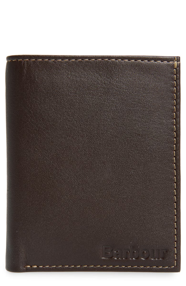 BARBOUR Elvington Leather RFID Wallet, Main, color, BROWN/ TAN