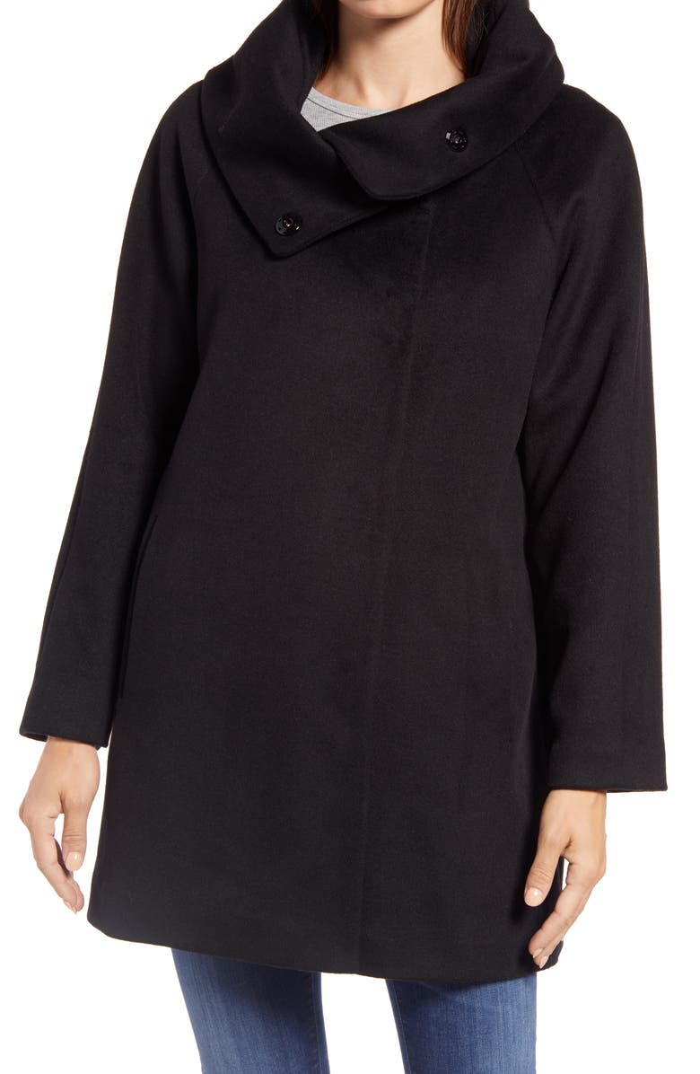 GALLERY Wool Blend Convertible Collar Coat, Main, color, BLACK