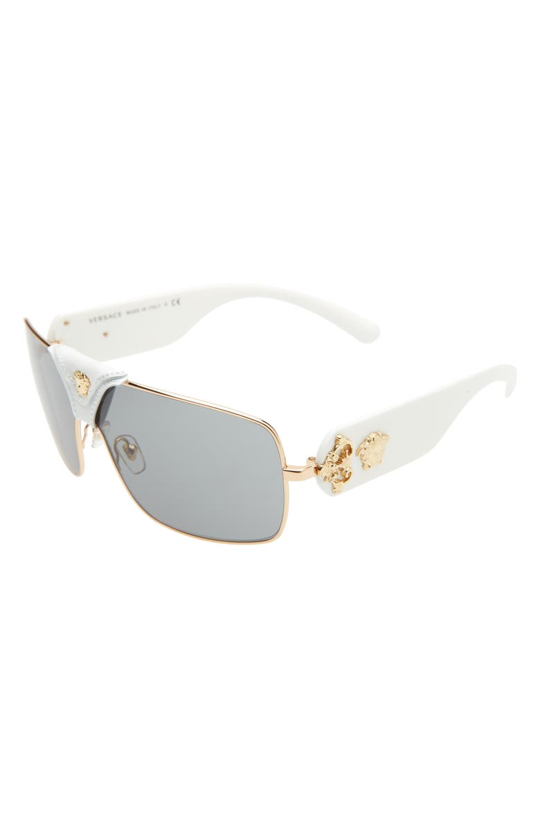 VERSACE 145mm Mirrored Shield Sunglasses, Main, color, GOLD/ GREY