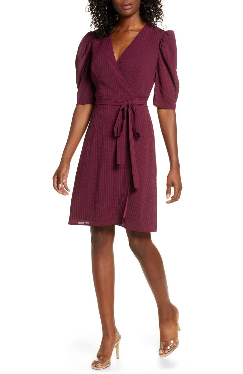 CHARLES HENRY Tonal Check Wrap Dress, Main, color, 600