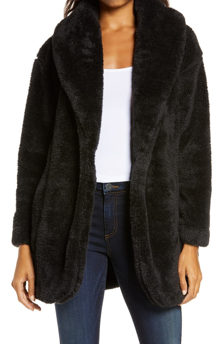 UGG<SUP>®</SUP> Annona Faux Shearling Travel Cardigan, Main, color, BLACK