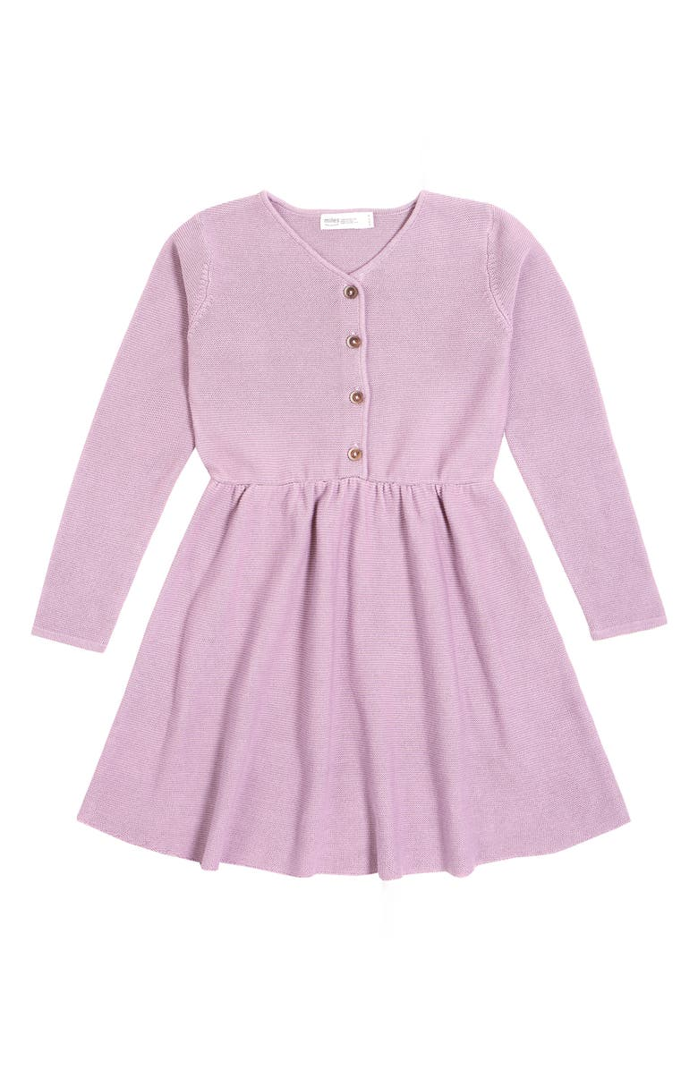 MILES Button Front Knit Dress, Main, color, LIGHT PURPLE