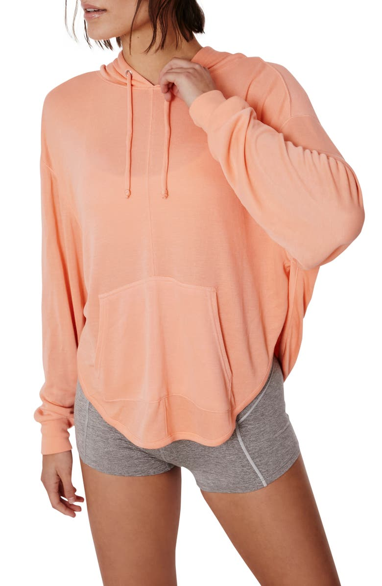 FREE PEOPLE FP MOVEMENT Back Into It Cutout Hoodie, Main, color, ORANGE