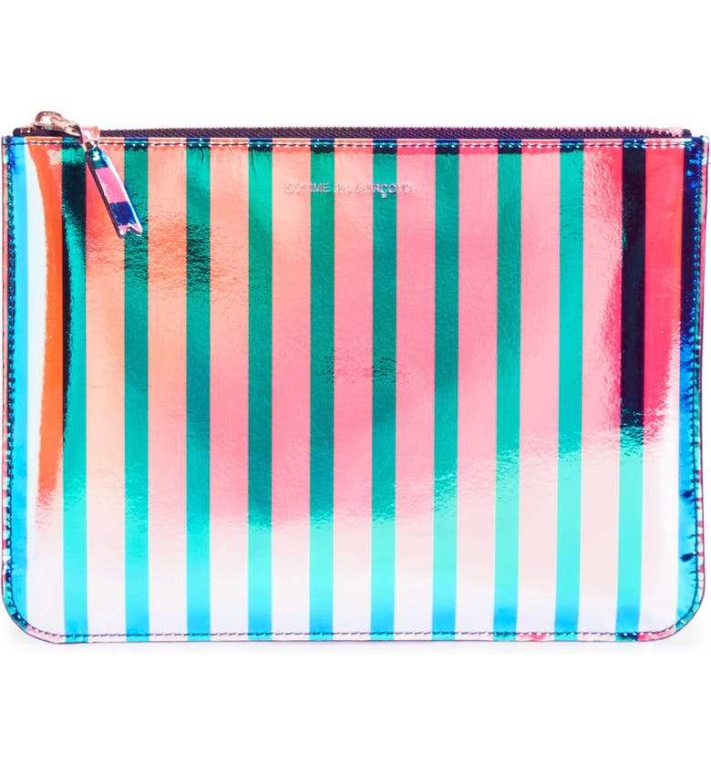 COMME DES GARÇONS 'Crazy Stripes' Leather Pouch, Main, color, 650