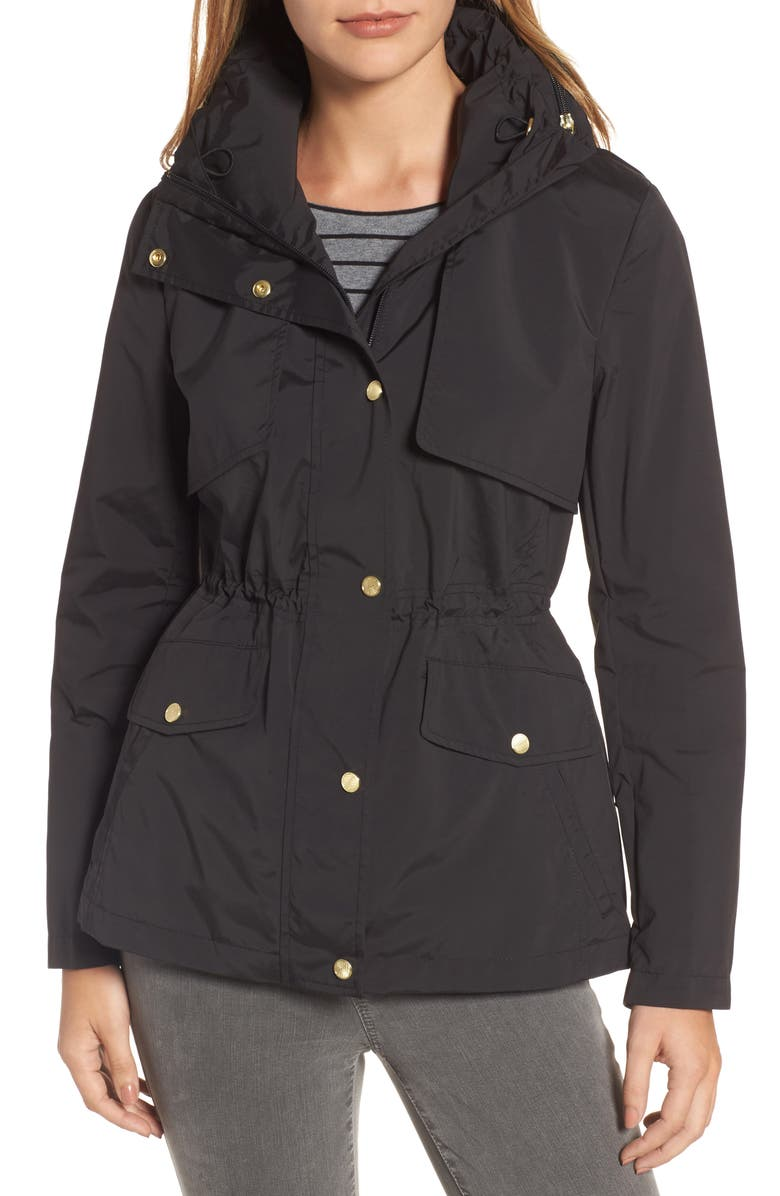 COLE HAAN Water Repellent Hooded Parka, Main, color, BLACK