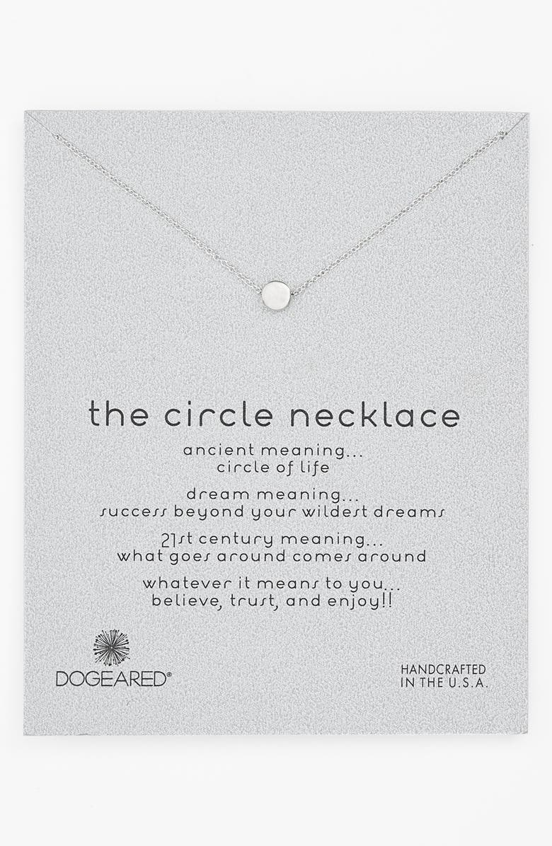 DOGEARED 'Reminder - The Circle' Pendant Necklace, Main, color, 040