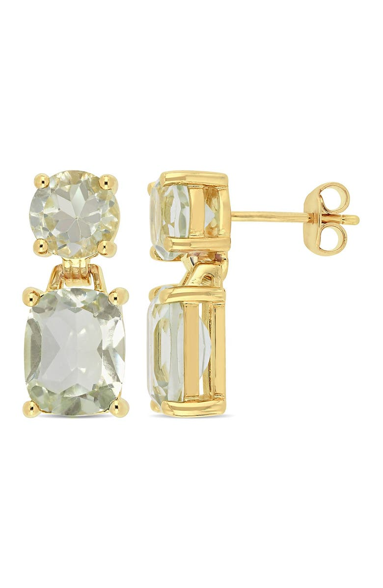 DELMAR Yellow Gold Plated Sterling Silver Cushion & Prong Set Amethyst Dangle Earrings, Main, color, GREEN