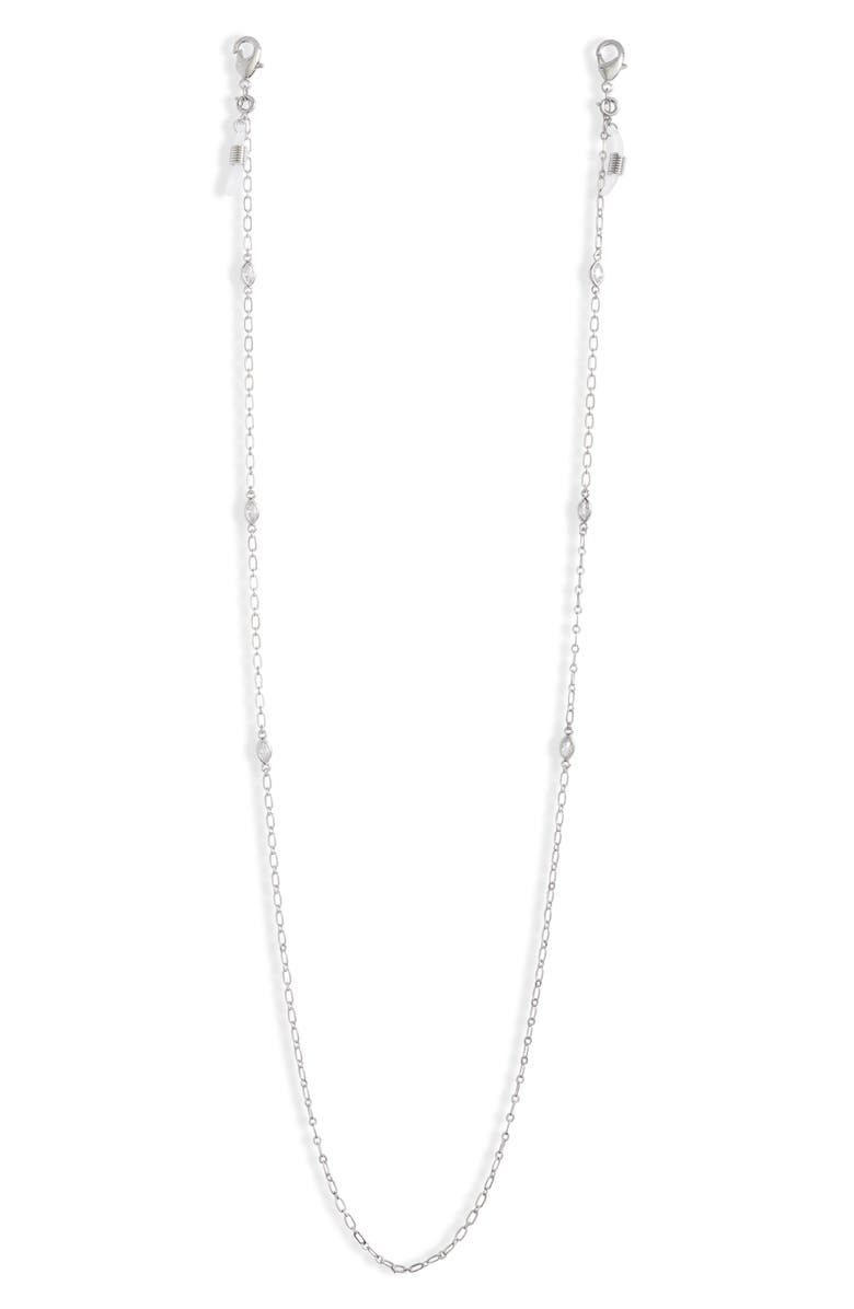 NORDSTROM Glasses & Face Mask Chain, Main, color, CLEAR- SILVER