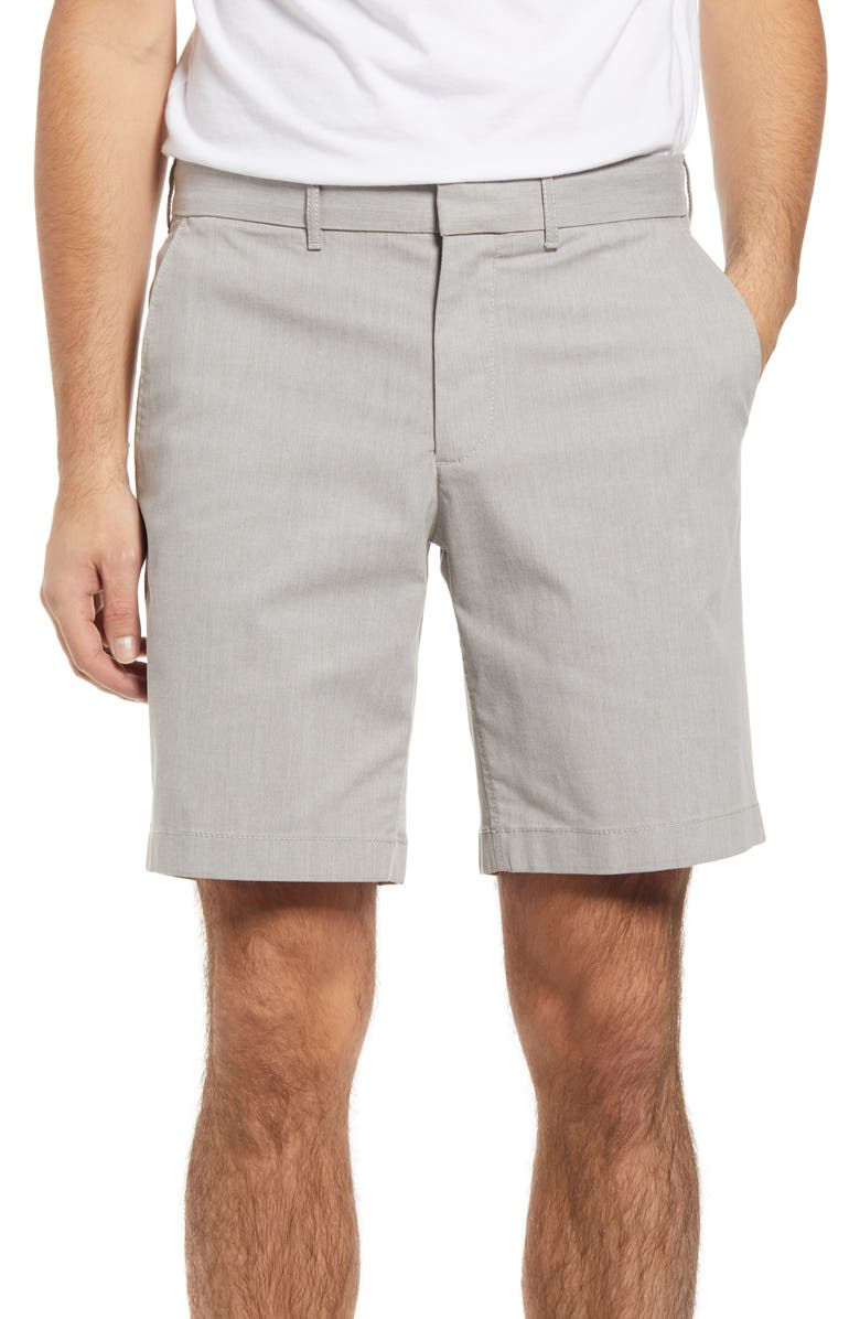 NORDSTROM Slim Fit CoolMax<sup>®</sup> Flat Front Performance Chino Shorts, Main, color, GREY OPAL