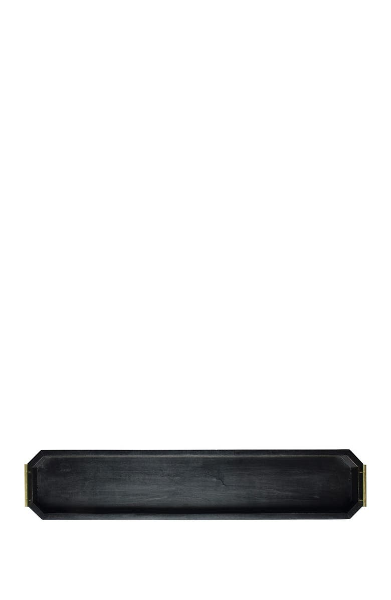 """HOME ESSENTIALS AND BEYOND 32""""L Blackwash Geometric Tray with Metal Handle - Set of 2, Main, color, NO COLOR"""