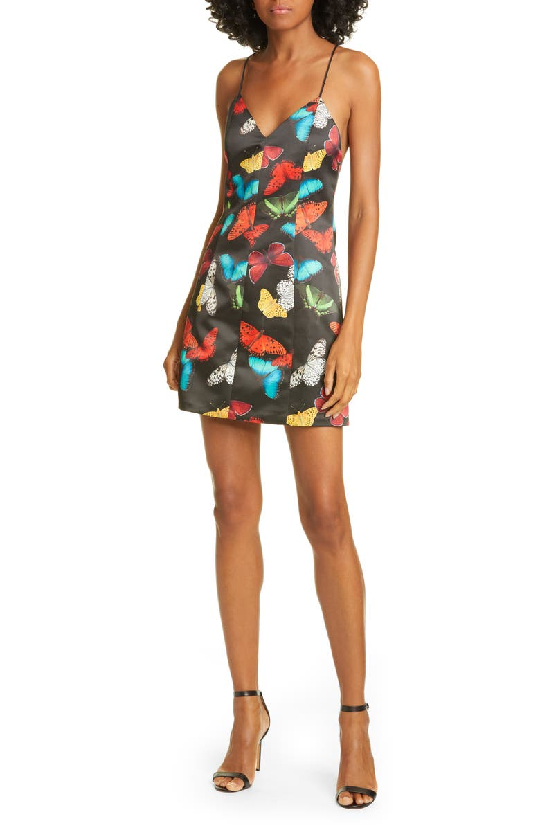 ALICE + OLIVIA Tayla Butterfly Print Minidress, Main, color, 001