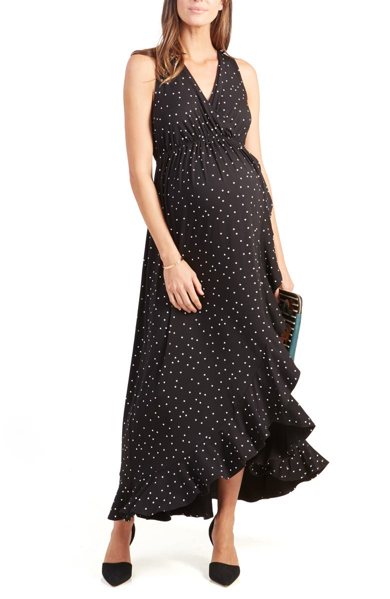 INGRID & ISABEL<SUP>®</SUP> Active Racerback Ruffle Maternity Maxi Dress, Main, color, BLACK POLKA DOT PRINT