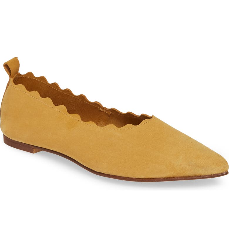 KLUB NICO Naomi Scallop Pointy Toe Flat, Main, color, YELLOW SUEDE