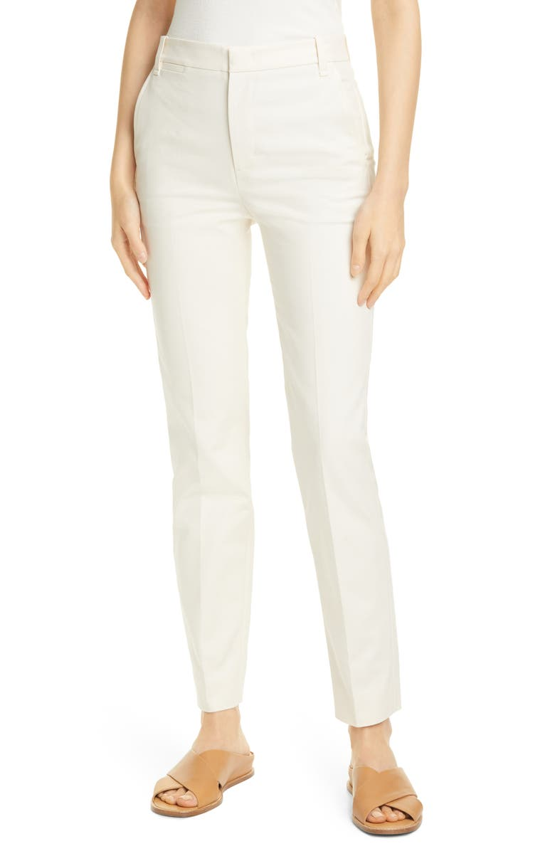 VINCE Slim Mid-Rise Trousers, Main, color, PAMPAS