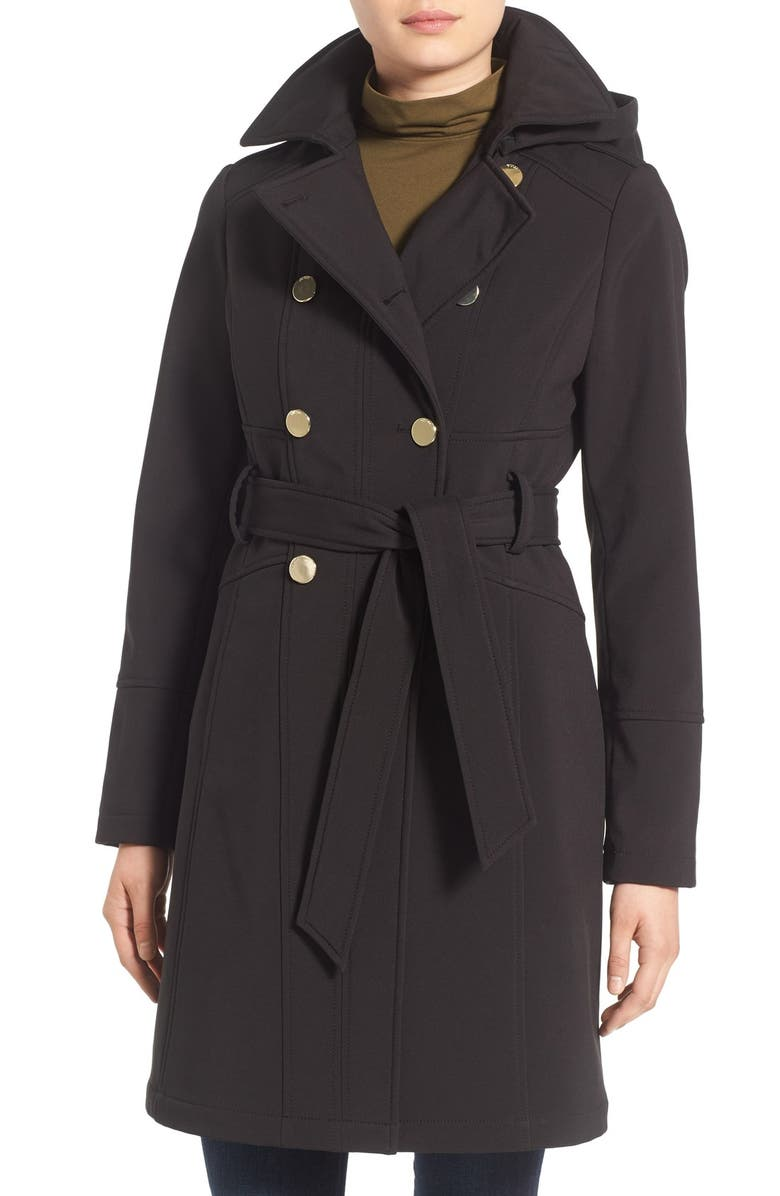 GUESS Hooded Softshell Trench Coat, Main, color, 001