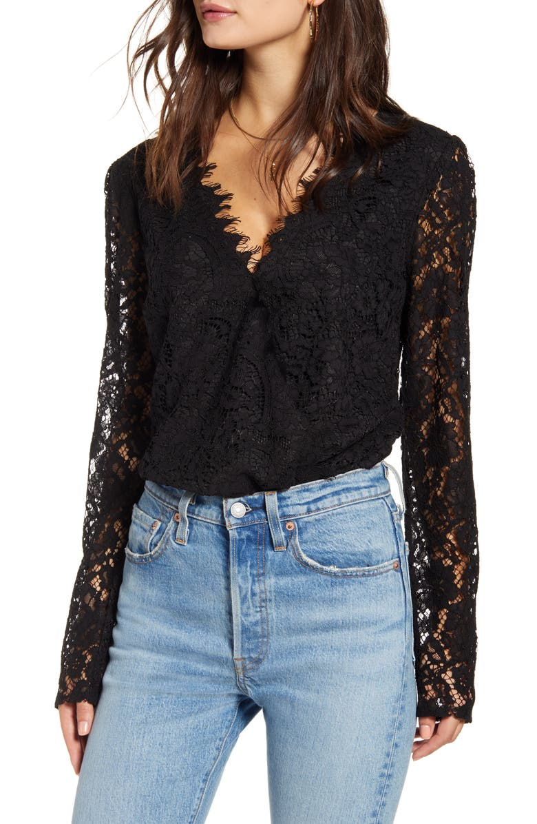 WAYF x Influencers Long Sleeve Lace Bodysuit, Main, color, 001