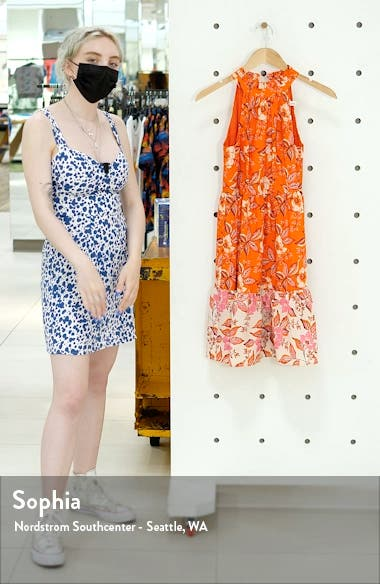 Floral High Neck Fit & Flare Dress, sales video thumbnail