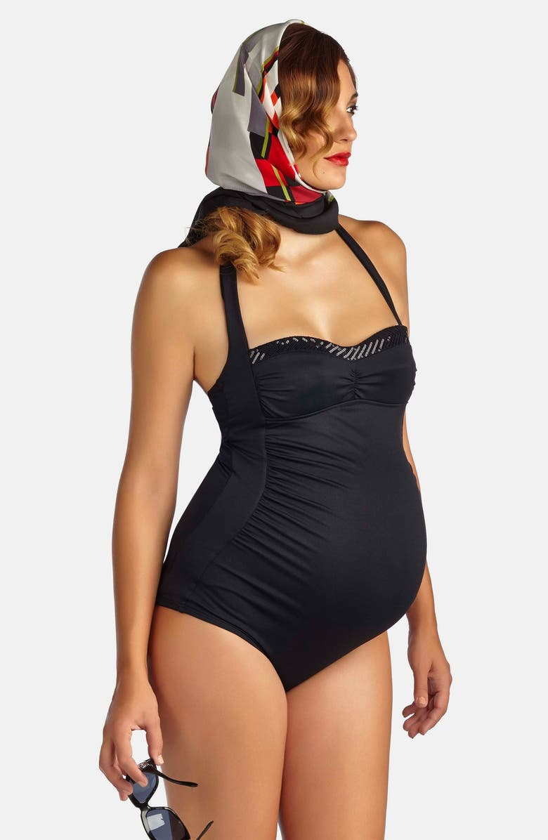 PEZ D'OR Retro Ruched One-Piece Maternity Swimsuit, Main, color, Black