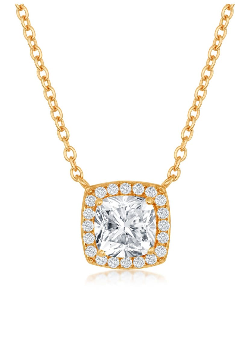 SIMONA 14K Yellow Gold Plated Sterling Silver Princess-Cut CZ Halo Pendant Necklace, Main, color, GOLD