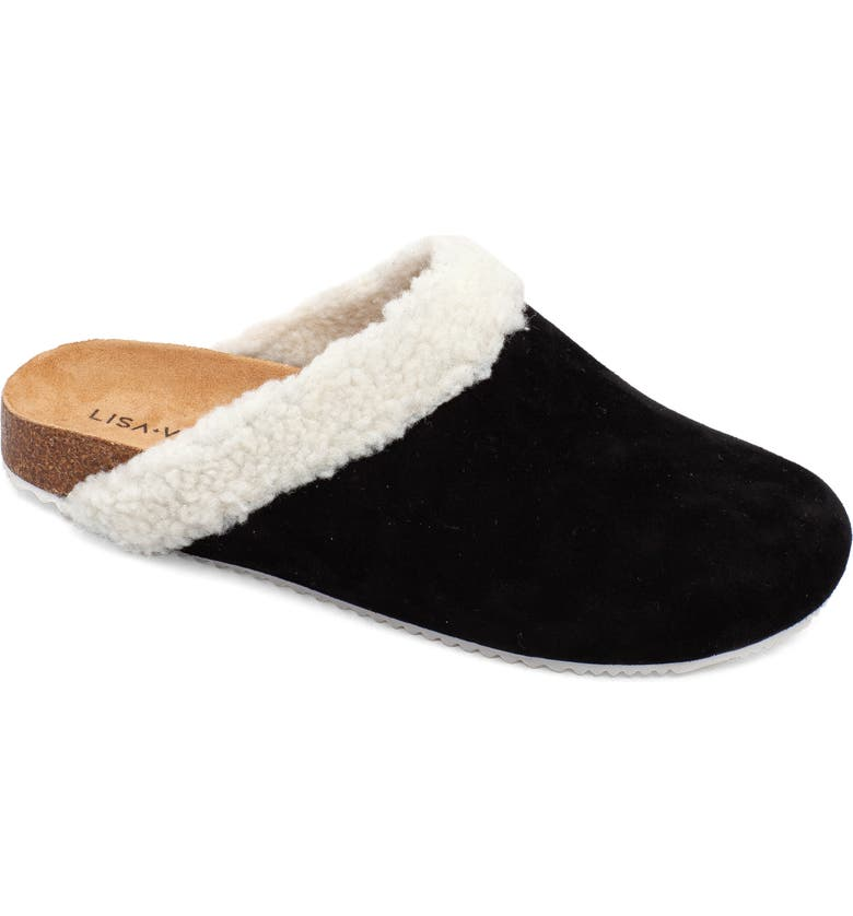 LISA VICKY Zeal Faux Shearling Mule, Main, color, BLACK SUEDE