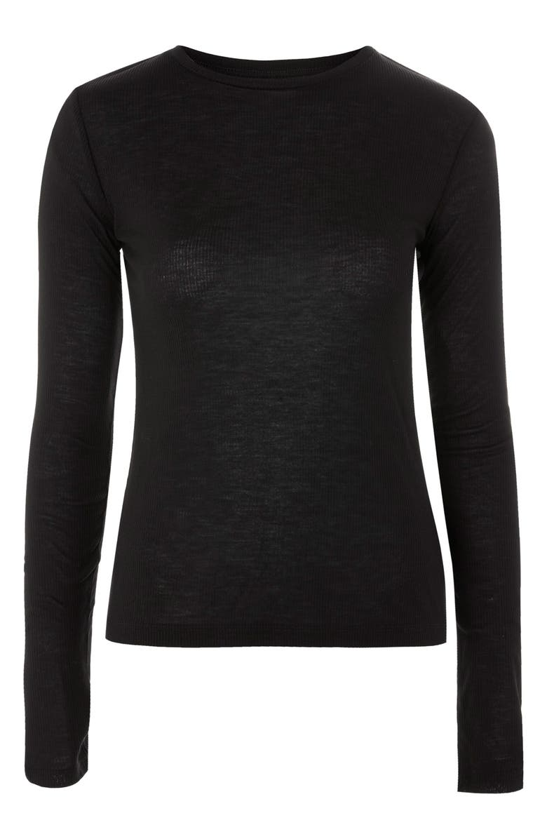 TOPSHOP BOUTIQUE Ribbed Long Sleeve Tee, Main, color, 001