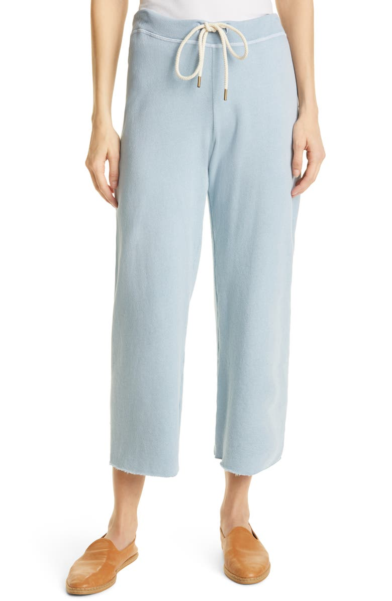 THE GREAT. The Wide Leg Cropped Sweatpants, Main, color, POWDER BLUE