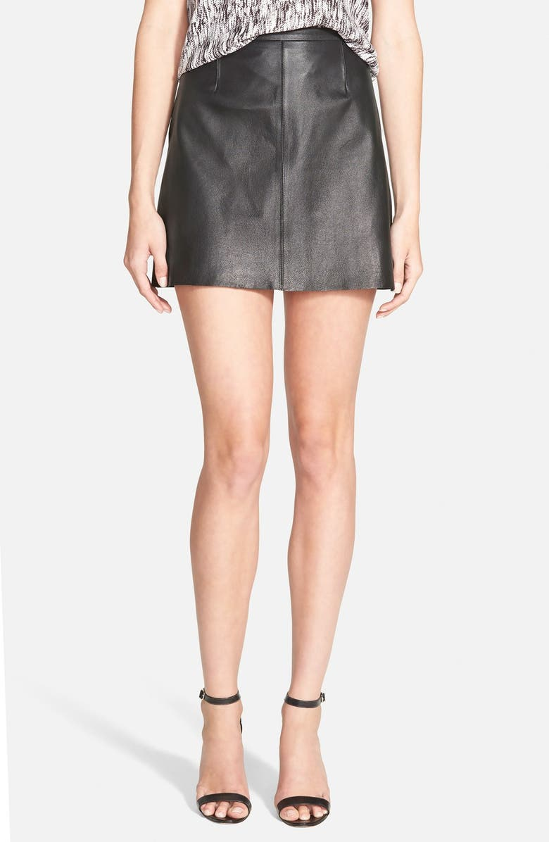 CUPCAKES AND CASHMERE 'Highland Mozart' Leather Miniskirt, Main, color, 001