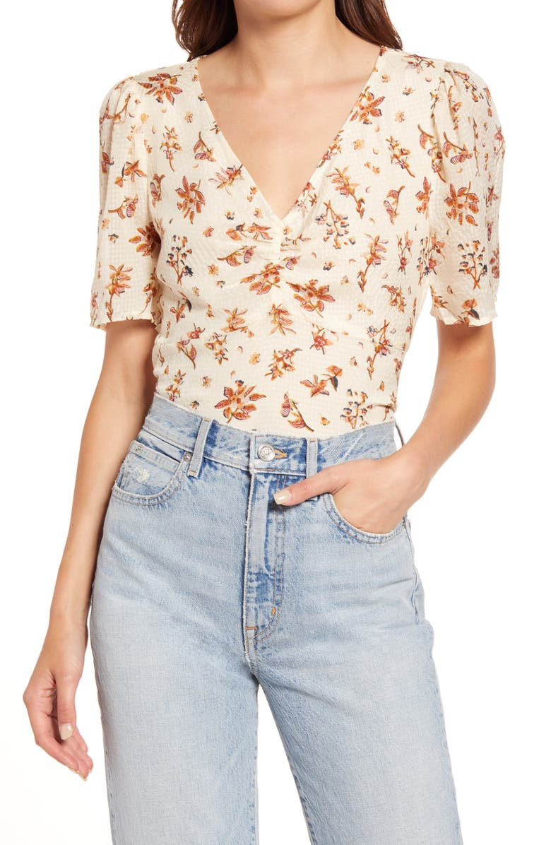 MADEWELL Silk Ruched Front Puff Sleeve Top, Main, color, ANTIQUE CORAL