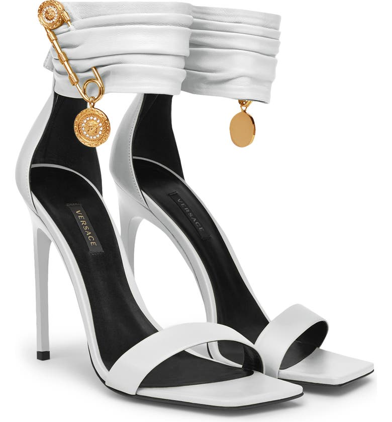 VERSACE Safety Pin Ankle Strap Sandal, Main, color, WHITE