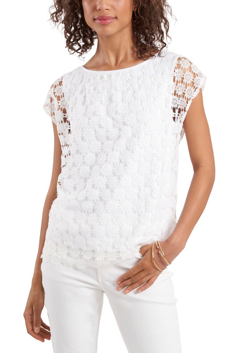 VINCE CAMUTO Floral Lace Top, Main, color, ULTRA WHITE