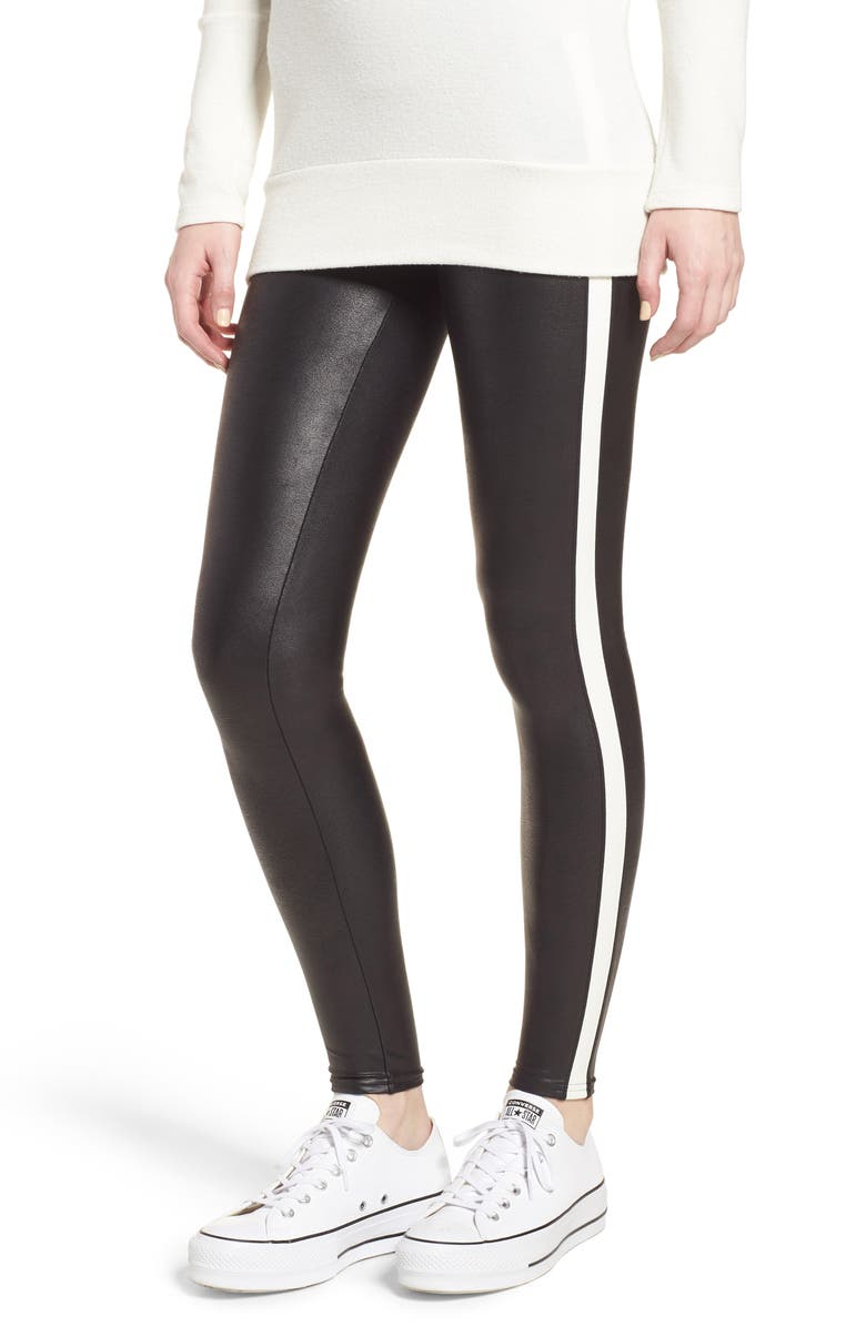 SPANX<SUP>®</SUP> Side Stripe Faux Leather Leggings, Main, color, VERY BLACK/ WHT