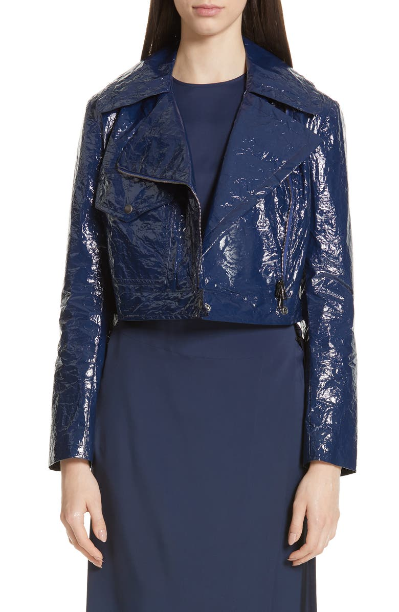 SIES MARJAN Annabelle Crinkled Faux Patent Leather Crop Moto Jacket, Main, color, 450