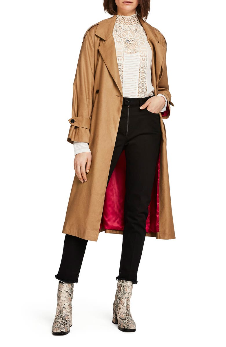 SCOTCH & SODA Belted Linen Blend Trench Coat, Main, color, 250