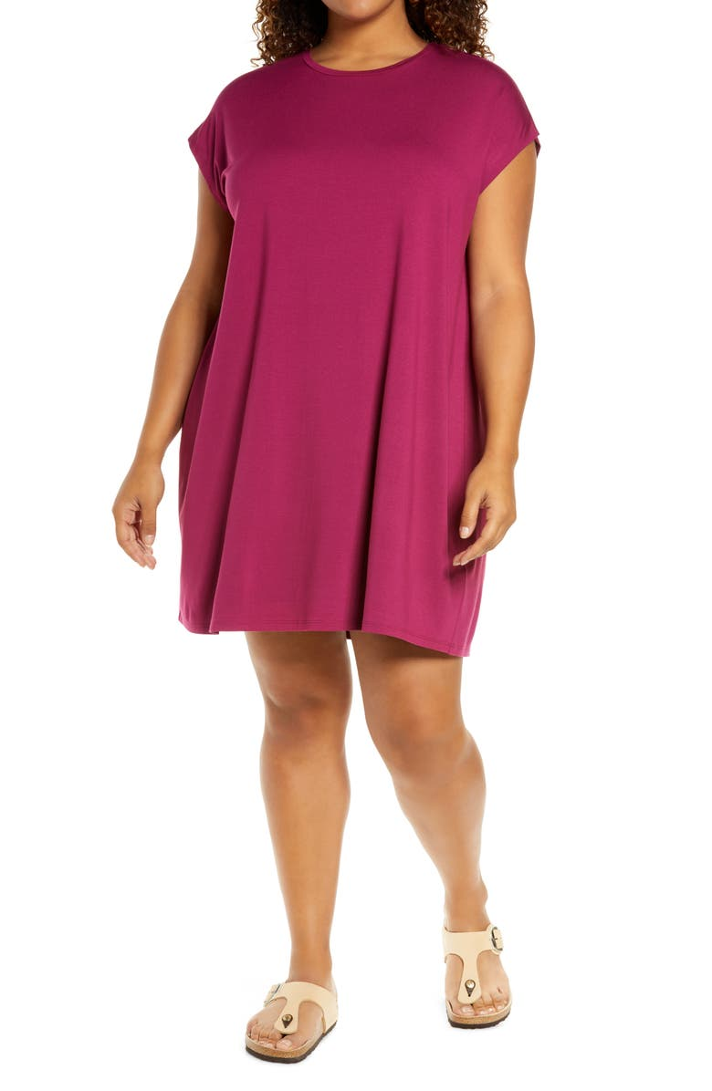 EILEEN FISHER Crewneck Boxy Dress, Main, color, BERRY
