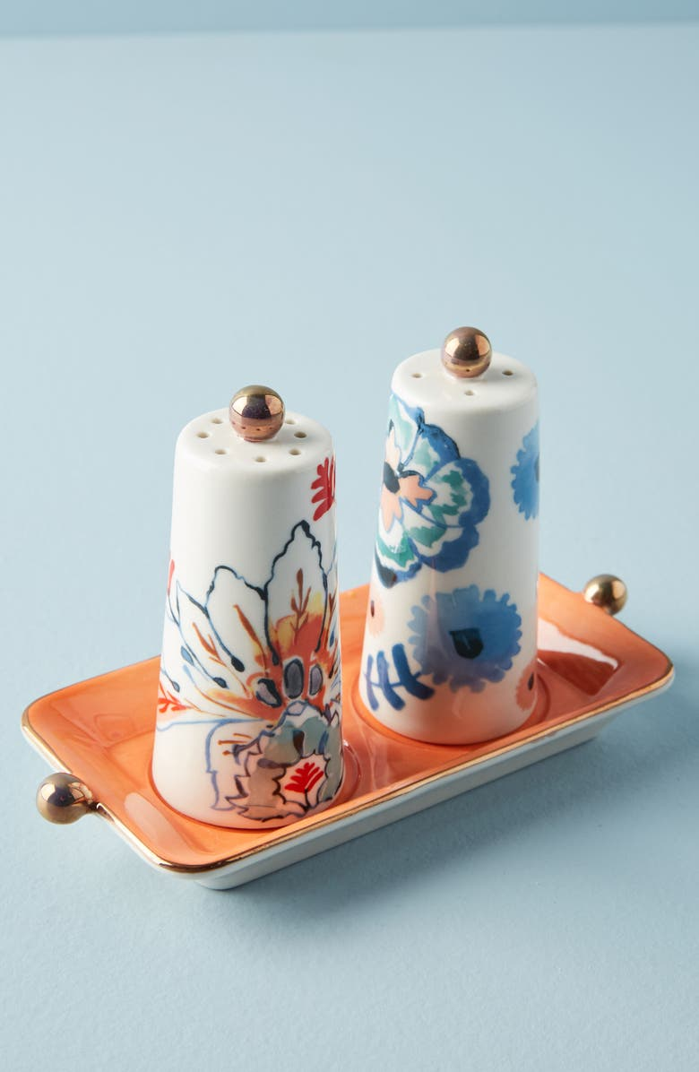 ANTHROPOLOGIE HOME Anthropologie Eres Salt & Pepper Shakers with Tray, Main, color, 406
